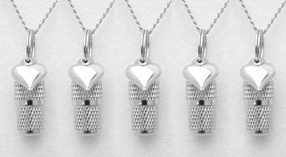 Beautiful Faceted Set of FIVE Mini Cremation Urns on Curb Chain Necklaces w/Silver Hearts - Hand Assembled with 5 Velvet Pouches & Fill Kit