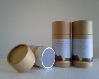 "SET OF THREE Eco-Friendly Cremation Urn Scattering Tubes w/Telescopic Lids - Natural/Biodegradable - Style ""Heavenly"""