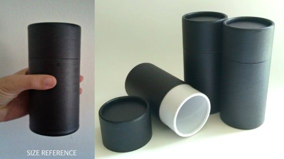 SET OF THREE Eco-Friendly Cremation Urn Scattering Tubes w/Telescopic Lids - Black/Biodegradable - Style Plain Black