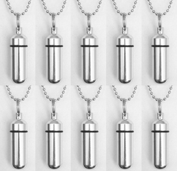 Set of TEN Classic Silver Cremation Urn Necklaces / Keepsakes  - with 10 Ball Chains, 10 Velvet Pouches & Fill Kit