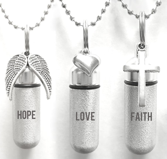 "Set of THREE Custom Engraved Hope/Love/Faith Brushed Silver Cremation URNS - with Wings, Hearts, Crosses -  24"" Ball Chains & Pouches"