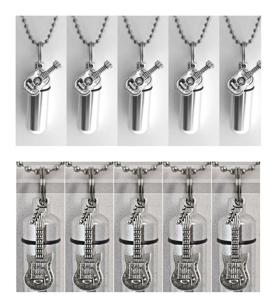 Special Set of TEN Silver CREMATION URN Keepsakes with - 5 Electric & 5 Folk Guitars  -  plus 10 Velvet Pouches, 10 Ball Chains + Fill Kit