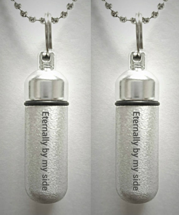 "Set of 2 ENGRAVED Brushed Silver CREMATION URN Necklaces ""Eternally by my side""  - Includes Velvet Pouches & Fill-Kit"