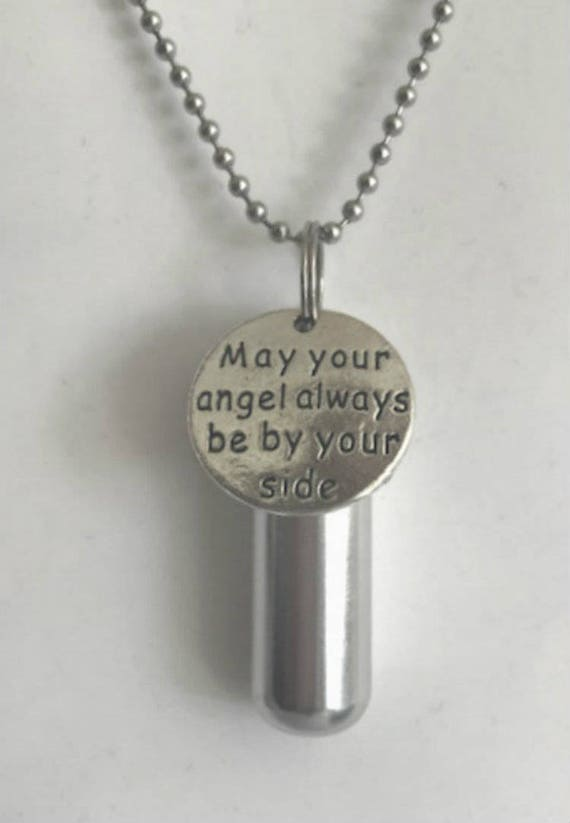 "Engraved  ""May your angel always be by your side""  - Cremation Urn Necklace -  Hand Crafted - with Velvet Pouch and Fill Kit"