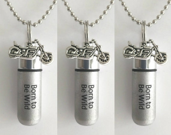 """Set of 3 ENGRAVED Brushed Silver Cremation Urn Necklaces """"Born To Be Wild""""with Motorcycle - with/3 Velvet Pouches, 3 Ball-Chains & Fill Kit"""
