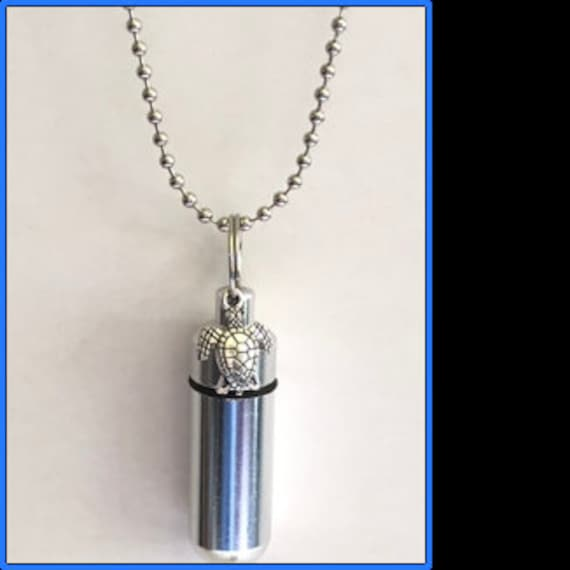 """Complete Set - Silver Sea Turtle Cremation Urn on 24"""" Necklace  - Custom Hand Assembled.... with Velvet Pouch and Fill Kit"""