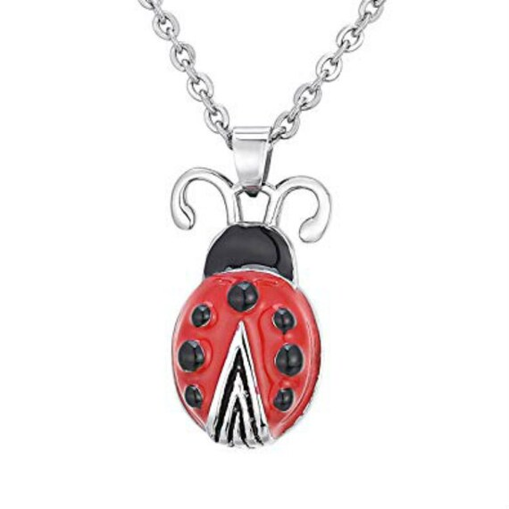 """Stainless Steel Red LADYBUG CREMATION URN on 24"""" Curb-Chain Necklace - with Velvet Pouch & Fill Kit"""