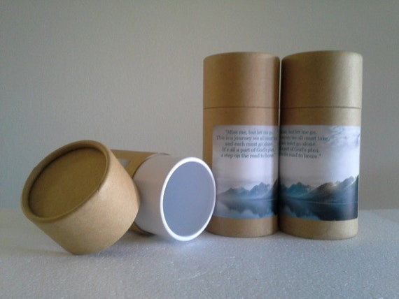 "SET OF THREE Eco-Friendly Cremation Urn Scattering Tubes w/Telescopic Lids - Natural/Biodegradable - Style ""Mountain"""