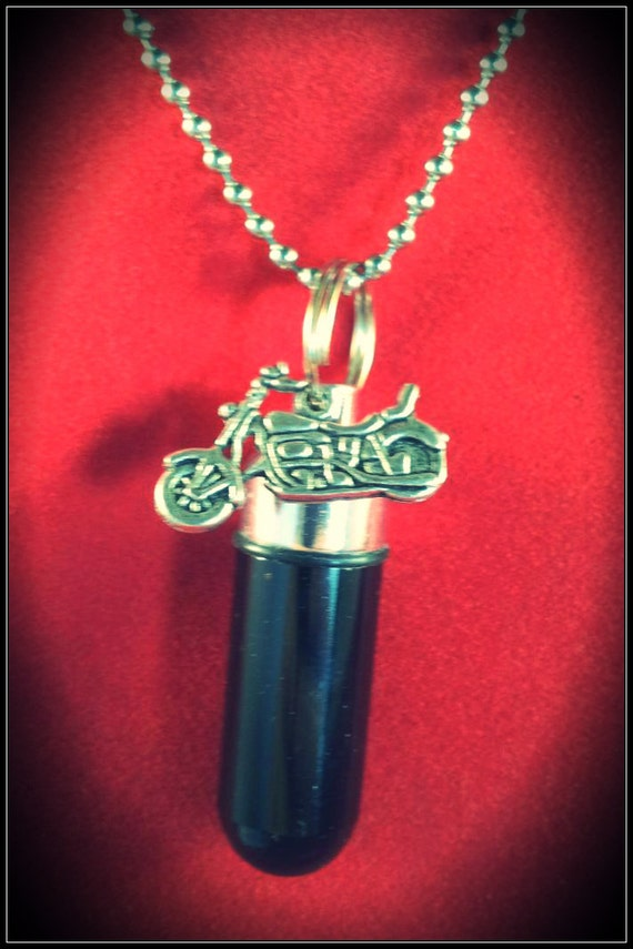 "Black Motorcycle Urn & Vial on 24"" Ball-Chain Necklace   - Custom Hand Assembled.... with Velvet Pouch and Fill Kit"