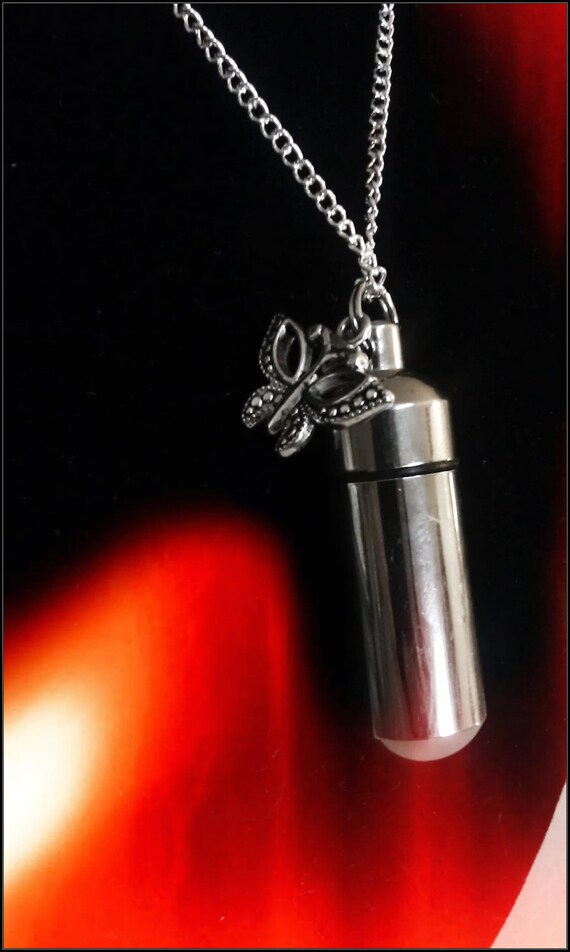 """Silver Cremation Urn & Vial on 18"""" Curb Chain Necklace  with BUTTERFLY - Custom Hand Assembled.... with Velvet Pouch and Fill Kit"""
