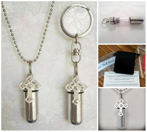Filigree Cross 2pc. Special Set - Cremation Urn Necklace & Keychain Urn and Velvet Pouches