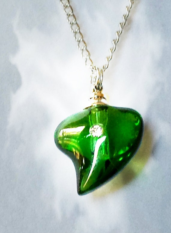 "Emerald Crystal Heart with Rhinestone CREMATION URN on 24"" Silver Necklace  -   with Velvet Pouch and Mini Funnel"