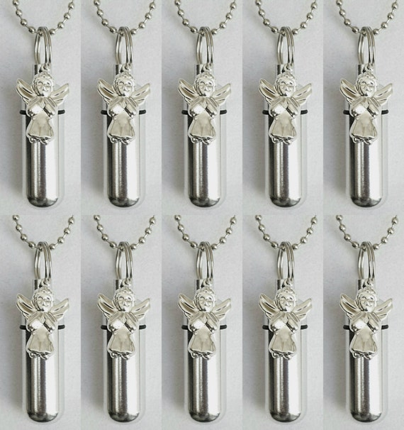 Special Set of TEN Silver CREMATION URN Necklaces with Silver Plated Praying Angels - Includes 10 Velvet Pouches, 10 Ball-Chains & Fill Kit