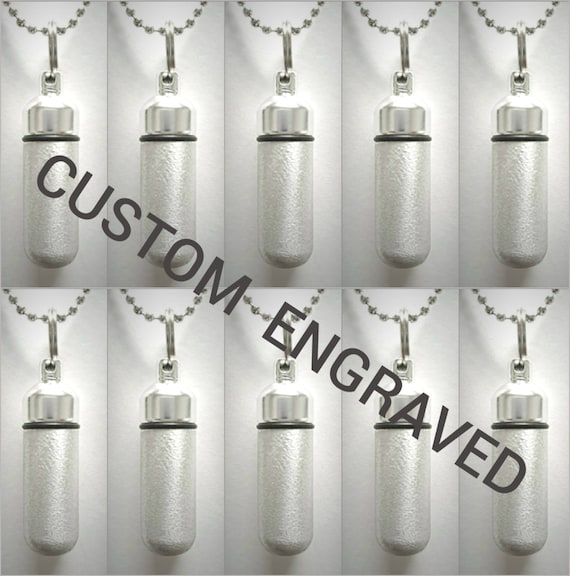 CUSTOM ENGRAVED Set of TEN Brushed Silver Cremation Urn Necklace Keepsakes with 10 Velvet Pouches, 10 Ball-Chains & Fill Kit