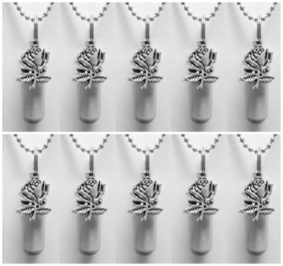 Family Set of TEN Brushed Silver Rose CREMATION URN Necklace/Keepsakes -  With 10 Velvet Pouches, 10 Ball-Chains & 2 Fill Kit