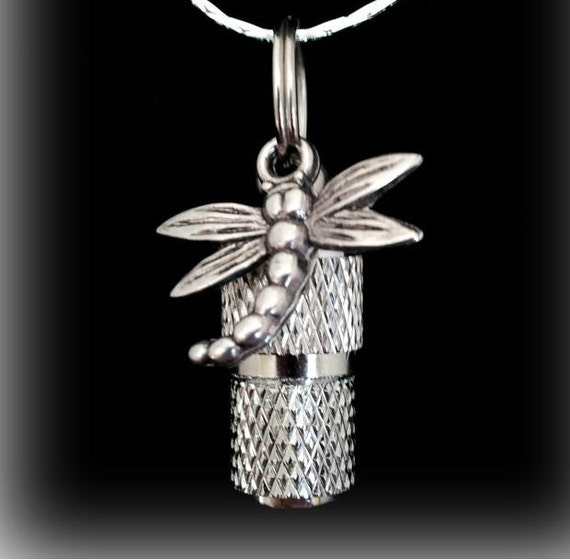 "MINI Cremation Urn  on 18"" Necklace with Dragonfly - Custom Hand Assembled....  Includes Velvet Pouch and Fill Kit"