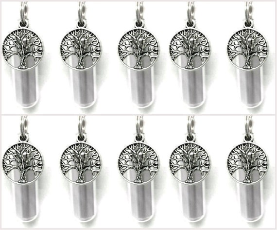 Special SET of 10 Polished Silver Tree-Of-Life CREMATION URN Keepsake/Necklaces - with 10 Velvet Pouches, 10 Ball-Chains & Fill Kit