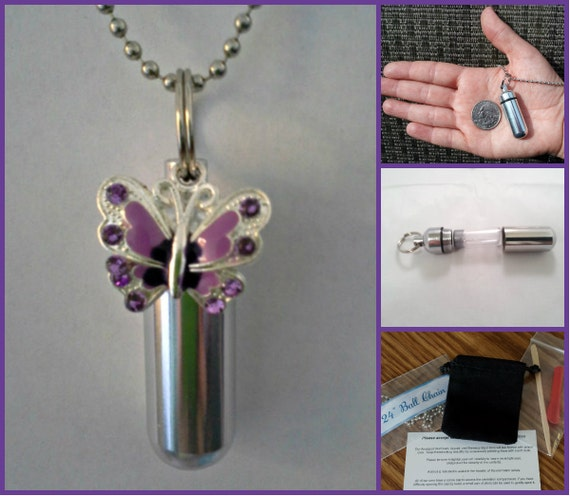 "Complete CREMATION URN Set with Purple BUTTERFLY on 24"" Stainless Steel Ball-Chain Necklace....w/Velvet Pouch and Fill Kit"