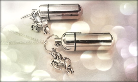 UNICORN 2pc. Special Set - Cremation Urn Necklace & Keychain Urn - with Velvet Pouches and Fill Kit