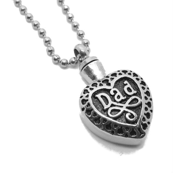 """Stainless Steel - Silver on Black """"DAD"""" Cremation Urn on 24"""" Ball-Chain Necklace - with Velvet Pouch & FIll Kit"""