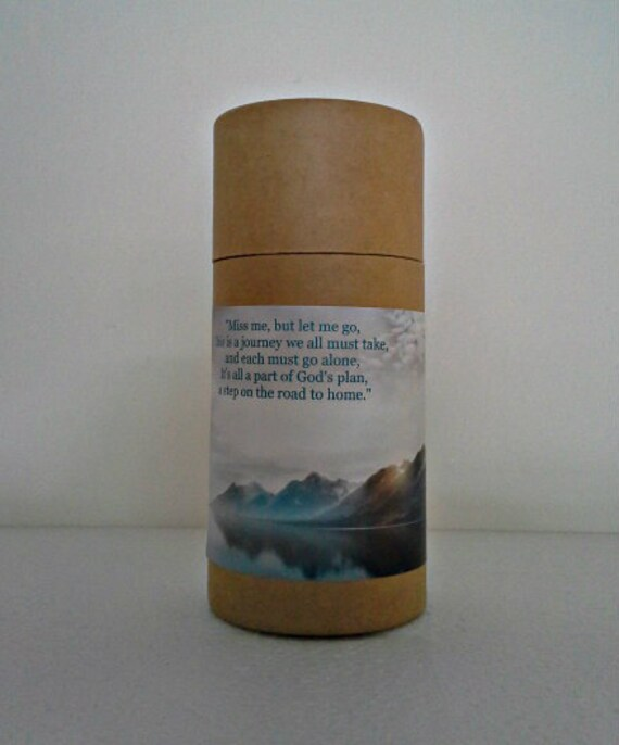 "Eco-Friendly Cremation Urn Scattering Tube w/Telescopic Lid - Natural/Biodegradable - Style ""Mountains"""