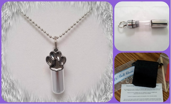 "Complete Set - Hematite PAW Pet Cremation Urn on 24"" Necklace  - Custom Hand Assembled.... with Velvet Pouch and Fill Kit"