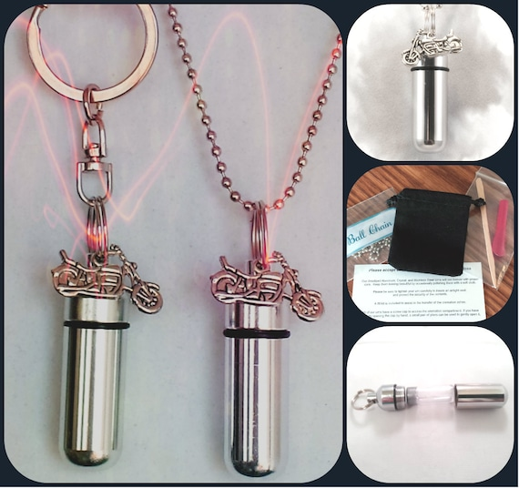 Silver MOTORCYCLE  2pc. Special Set - Cremation Urn Necklace & Keychain Urn and Velvet Pouches