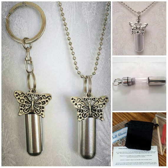 Large Butterfly 2pc. Special Set - Cremation Urn Necklace & Keychain Urn with Velvet Pouches and Fill Kit