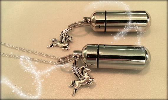 Pegasus Flying Horse  2pc. Special Set - Cremation Urn Necklace & Keychain Urn and Velvet Pouch and Fill Kit
