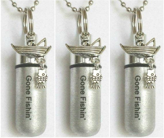 """THREE Engraved Brushed Silver """"Gone Fishin"""" CREMATION URN Necklace with Fisherman & Fish - Includes Velvet Pouches and Fill Kit"""