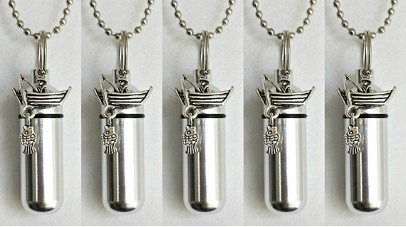 Family Set of Five Polished Silver  Fisherman in Boat CREMATION URN Necklaces - Includes 5 Velvet Pouches & Fill Kit