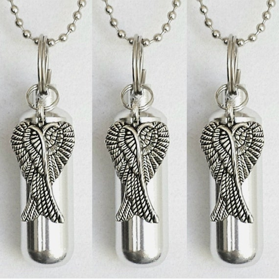 Set of 3 Polished Silver Angel Wings ANOINTING OIL Vial/Canisters with 3 Velvet Pouches, 3 Steel Ball-Chain Necklaces & 3 Pipette Droppers