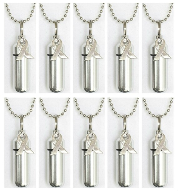 10 PIECE Silver Cancer Awareness CREMATION URN Necklace Set with - with 10 Velvet Pouches, 10 ball-chains & Fill Kit