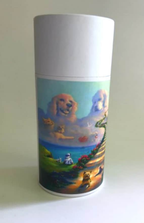ONE Eco-Friendly White Pet Cremation Urn Scattering Tube w/Telescopic Lid - Biodegradable - Style: Rainbow Bridge