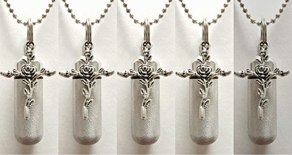 Set of 5 Brushed Silver Rose Cross CREMATION URN Necklaces w/Laser ENGRAVED Hearts! - Includes 5 Velvet Pouches, 5 Ball-Chains & Fill Kit