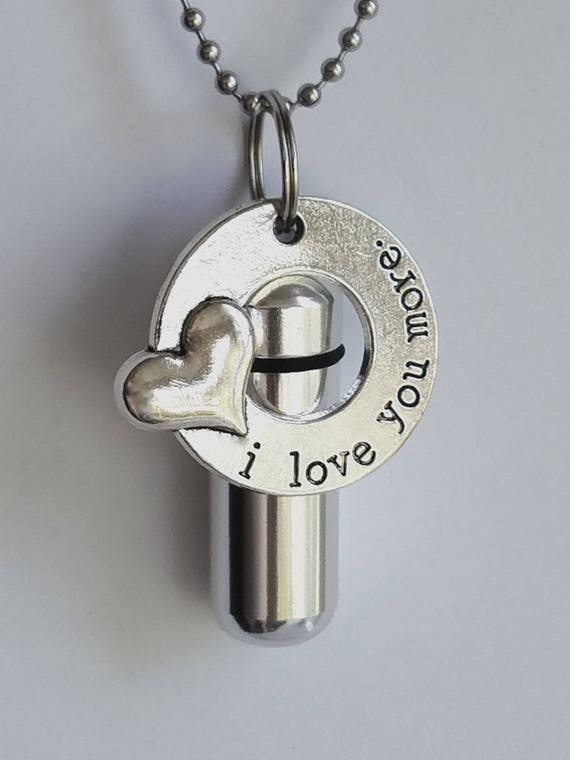 "Personal CREMATION URN NECKLACE with ""I love you more"" Charm Ring - with Velvet Pouch, Ball Chain, Fill Kit"