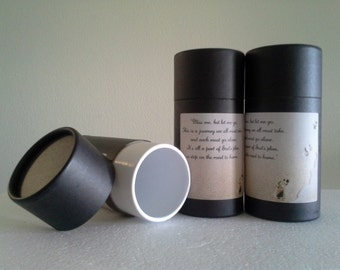 "SET OF THREE Eco-Friendly Cremation Urn Scattering Tubes w/Telescopic Lids - Black/Biodegradable - Style ""Footprints"""
