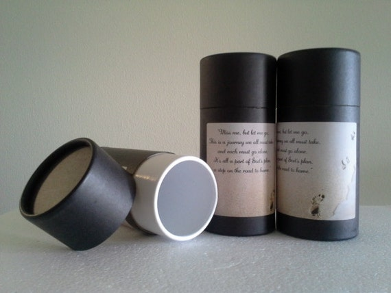 """SET OF THREE Eco-Friendly Cremation Urn Scattering Tubes w/Telescopic Lids - Black/Biodegradable - Style """"Footprints"""""""