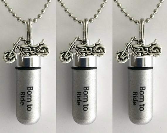 "Set of 3 ENGRAVED Brushed Silver Cremation Urn Necklaces ""Born To Ride"" with Motorcycle - with/3 Velvet Pouches, 3 Ball-Chains & Fill Kit"
