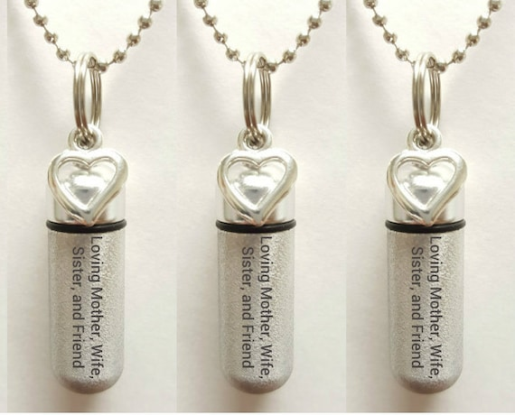 "Set of 3 ENGRAVED Brushed Silver CREMATION URN Necklaces ""Loving Mother Wife Sister and Friend  - w/Open Hearts,  Velvet Pouches & Fill-Kit"