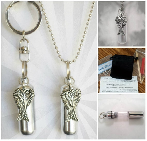 Crossed Angel Wings  2pc. Special Set - Cremation Urn Necklace & Keychain Urn and Velvet Pouches