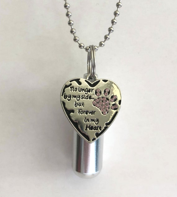 "Engraved ""No Longer By My Side"" with Rhinestone Paw CREMATION URN & Vial - Includes 24"" Ball Chain Necklace, Velvet Pouch and Fill Kit"