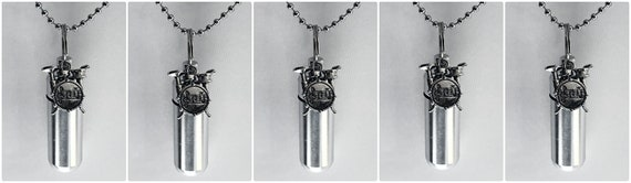 Set of FIVE Silver Musical Drums CREMATION URN Necklace Keepsakes with Silver Drum Set - Includes 5 Velvet Pouches. 5 Ball-Chains & Fill Kit