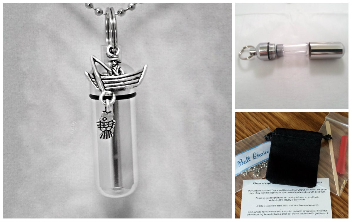 Complete Set - Silver Fisherman in Boat - Cremation Urn on 24