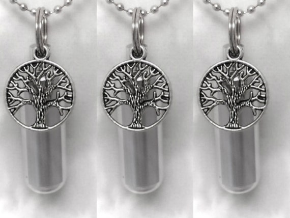 Special Set of 3 Tree-Of-Life CREMATION URN Necklaces -  Includes 3 Velvet Pouches, 3 Ball-Chains & Fill Kit
