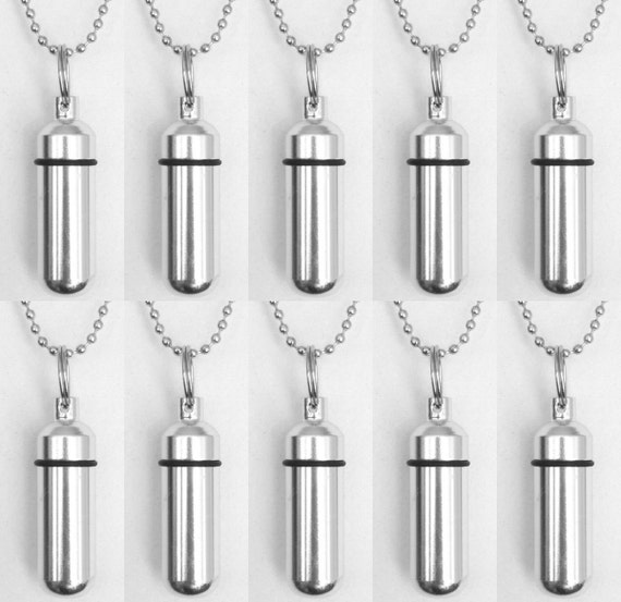 Special Engraved Set of TEN Classic Silver CREMATION URN Necklace Keepsakes with Engraved Hearts - Includes Pouches, Ball-Chains, Fill Kit