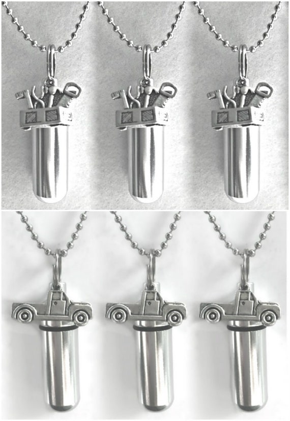 Special Set of SIX  Personal Cremation URNS - Toolbox & Pickup Trucks - Includes 6 Velvet Pouches, 6 Ball-Chains and Fill Kit