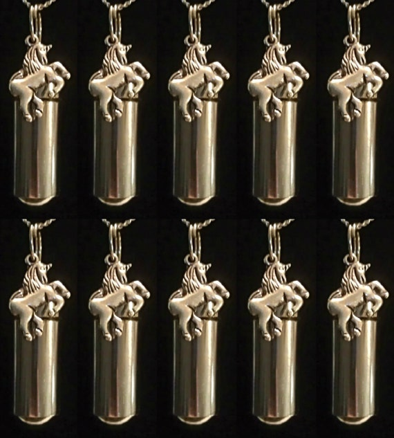 "Mystical Set of 10 - UNICORN CREMATION URN Keepsake Necklaces - Includes Ten Velvet Pouches, Ten 24"" Steel Ball-Chains & Fill Kit"