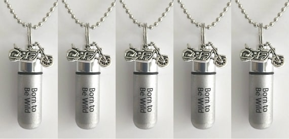 "Set of 5 ENGRAVED Brushed Silver Cremation Urn Necklaces ""Born To Be Wild""with Motorcycle - with/5 Velvet Pouches, 5 Ball-Chains & Fill Kit"