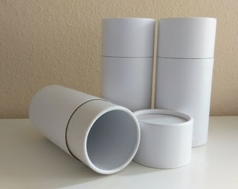 SET OF THREE Eco-Friendly Cremation Urn Scattering Tubes w/Telescopic Lids - Biodegradable - Style: Serene White/Blank